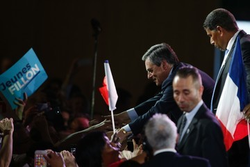 Francois Fillon French Presidential Candidate Francois Fillon Hosts a Rally Party in Paris