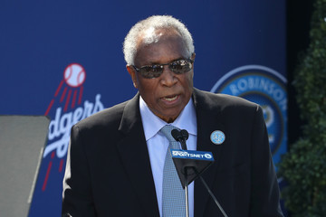 Frank Robinson Los Angeles Dodgers Unveil Jackie Robinson Statue