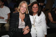 Booth Moore (L) and Fern Mallis attend the Frankie B Hollywood Spring 2016 fashion show during New York Fashion Week at Pier 59 on September 12, 2015 in New York City.