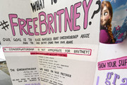 Banners at the Britney Spears  #FreeBritney Protest  outside Los Angeles Courthouse at Stanley Mosk Courthouse on September 16, 2020 in Los Angeles, California.
