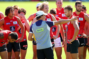 Development coach Marc Webb address players during a Fremantle Dockers AFL training session at Fremantle Oval on March 3, 2015 in Fremantle, Australia.