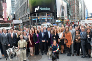 Richard Thompson (C), Chief Executive Officer of Freshpet, Inc. with Freshpet Inc. management and guests visits NASDAQ MarketSite on November 7, 2014 in New York City.