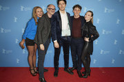 """(L-R) Angelika Niedetzky, Markus Schleinzer, Noah Saavedra, Aaron Friesz and Alina Fritsch pose at the Netflix premiere of """"Freud"""" during the 70th Berlinale International Film Festival Berlin at Zoo Palast on February 24, 2020 in Berlin, Germany."""