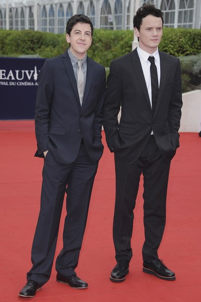 Anton Yelchin (R) and Christopher Mintz-Plasse arrive at the 'Fright Night' Premiere during the 37th Deauville American Film Festival on September 3, 2011 in Deauville, France.