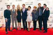 "(L-R) FRINGE Creator and Executive Producer J.J. Abrams, Cast members Seth Gabel, Anna Torv, John Noble, Jasika Nicole, Blair Brown, Joshua Jackson and Executive Producer J.H. Wyman attend ""Fringe"" celebrates 100 episodes and final season party at Fairmont Pacific Rim on December 1, 2012 in Vancouver, Canada."