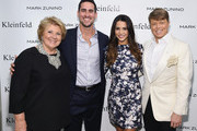 (L-R) Kleinfeld co-owner Mara Urshel, television personalities Josh Murray, Andi Dorfman and Kleinfeld Bridal Fashion Director Terry Hall attend front row at The Mark Zunino For Kleinfeld 2015 Runway Show at Kleinfeld on October 14, 2014 in New York City.