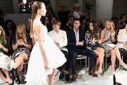 (L-R) Kleinfeld Bridal Fashion Director Terry Hall, television personalities Josh Murray and Andi Dorfman and actress Alyshia Ochse sit front row at The Mark Zunino For Kleinfeld 2015 Runway Show at Kleinfeld on October 14, 2014 in New York City.