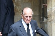 Prince Philip, Duke of Edinburgh leaves the funeral service of Patricia Knatchbull, Countess Mountbatten of Burma at St Paul's Church in Knightsbridge on June 27, 2017 in London, England.