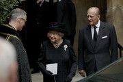 Queen Elizabeth II and  Prince Philip, Duke of Edinburgh  after the funeral service of Patricia Knatchbull, Countess Mountbatten of Burma at St Paul's Church in Knightsbridge on June 27, 2017 in London, England.