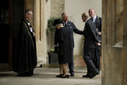 Queen Elizabeth II (L) and Prince Philip, Duke of Edinburgh are greeted by their son Prince Charles, Prince of Wales as they arrive at the funeral service of Patricia Knatchbull, Countess Mountbatten of Burma at St Paul's Church in Knightsbridge on June 27, 2017 in London, United Kingdom.