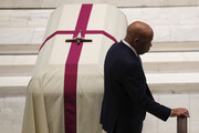 Rep. John Lewis (D-GA) walks by the casket of former U.S. Rep. John Dingell (D-MI) during his funeral February 14, 2019 at Holy Trinity Church in Washington, DC. Rep. Dingell, the longest serving member of the House of Representatives, representing Michigan's 12th, 15th and 16th districts between 1955 and 2015, passed away on Feb 7, 2019 at the age of 92.