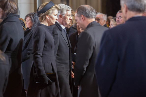 Queen Mathilde and King Philippe of Belgium attend the funeral of Queen Fabiola at Notre Dame Church on December 12, 2014 in Laeken, Belgium.