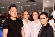 (L-R) Justin Min, Kelly Framel, Erin Framel and Joseph Parcon attend Furla X the Glamourai at Bloomingdale's 59th Street Store on June 12, 2014 in New York City.