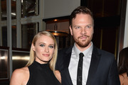 """Actors Leven Rambin (L) and Jim Parrack attend the """"Fury"""" New York premiere at DGA Theater on October 14, 2014 in New York City."""