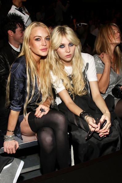 Actresses Lindsay Lohan (L) and Taylor Momsen attend the G Star Spring 2010 ...