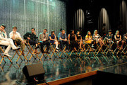 """(L-R) Actors Chris Colfer, Kevin McHale, Darren Criss, Matthew Morrison, Lea Michele, Cory Monteith, Amber Riley, Naya Rivera, Jenna Ushkowitz, Dianna Agron, Harry Shum Jr., Heather Morris and Damian McGinty appear at the """"GLEE"""" 300th musical performance special taping at Paramount Studios on October 26, 2011 in Los Angeles, California."""