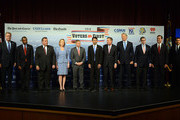 (L-R) Former Florida Gov. Jeb Bush, Dr. Ben Carson, New Jersey Gov. Chris Christie, former CEO Hewlett-Packard Carly Fiorina, U.S. Senator Lindsey Graham (SC), Louisiana Gov. Bobby Jindal, Ohio Gov. John Kasich, former New York Gov. George Pataki, former Texas Gov. Rick Perry, former U.S. Senator Rick Santorum (PA), Wisconsin Gov. Scott Walker stand on the stage prior to the Voters First Presidential Forum for Republicans at Saint Anselm College August 3, 2015 in Manchester, New Hampshire. The forum was organized by the New Hampshire Union Leader and C-SPAN in response to the Fox News debate later this week that will limit the candidates to the top 10 Republicans based on nationwide polls.