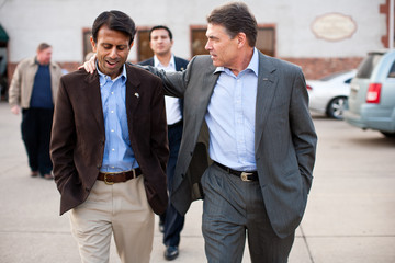 Rick Perry Bobby Jindal GOP Presidential Hopeful Rick Perry Continues Bus Trip Through Iowa