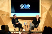 Jim Nelson and Ryan Murphy speak onstage at GQ Live - American Genius Story: The Mind Of Ryan Murphyat NeueHouse Los Angeles on December 08, 2018 in Hollywood, California.