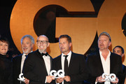 (EXCLUSIVE ACCESS. PREMIUM RATES APPLY) (L-R) Katrin Sass, Tom Jones, Thomas D, Til Schweiger and Boris Becker pose on stage at the GQ Men of the year Award 2015 show (german: GQ Maenner des Jahres 2015) at Komische Oper on November 5, 2015 in Berlin, Germany.