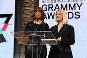 Gayle King and Bebe Rexha speak onstage at the GRAMMY Nominations Press Conference at CBS Studios on November 20, 2019 in New York City.