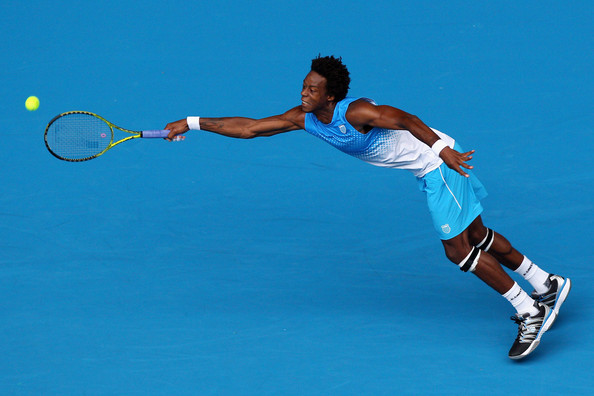 Gael Monfils Gael Monfils of France plays a forehand in his first round match against Thiemo De Bakker of The Netherlands during day one of the 2011 Australian Open at Melbourne Park on January 17, 2011 in Melbourne, Australia.