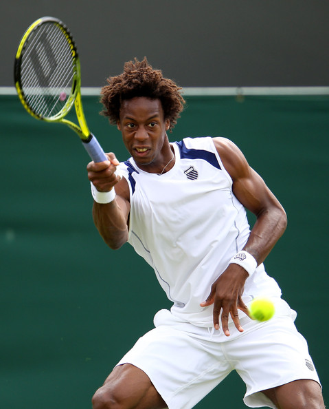 Gael Monfils Gael Monfils of France returns a shot during his first round match against Matthias Bachinger of Germany on Day One of the Wimbledon Lawn Tennis Championships at the All England Lawn Tennis and Croquet Club on June 20, 2011 in London, England.