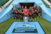 (L-R) Ben Te'o of Worcester Warriors, Taulupe Faletau of Bath Rugby, Toby Flood of Newcastle Falcons, Tom Wood of Northampton Saints, Jonno Ross of Sale Sharks, Jaco Kriel of Gloucester Rugby, George Smith of Bristol Bears, Danny Care of Harlequins, Owen Farrell of Saracens, Christian Wade of Wasps, Ben Youngs of Leicester Tigers and Jack Nowell of Exeter Chiefs pose for a photo during the Gallagher Premiership Rugby 2018-19 Season Launch at Twickenham Stadium on August 23, 2018 in London, England.