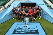 (L-R) Jack Nowell of Exeter Chiefs, Ben Te'o of Worcester Warriors, Taulupe Faletau of Bath Rugby, Toby Flood of Newcastle Falcons, Tom Wood of Northampton Saints, Jonno Ross of Sale Sharks, Jaco Kriel of Gloucester Rugby, George Smith of Bristol Bears, Danny Care of Harlequins, Owen Farrell of Saracens, Christian Wade of Wasps and Ben Youngs of Leicester Tigers pose for a photo during the Gallagher Premiership Rugby 2018-19 Season Launch at Twickenham Stadium on August 23, 2018 in London, England.
