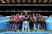 (L-R) Tom Wood of Northampton Saints, Jonno Ross of Sale, Jaco Kriel of Gloucester, George Smith of Bristol Bears, Danny Care of Harlequins, Owen Farrell of Saracens, Christian Wade of Wasps, Ben Youngs of Leicester Tigers, Jack Nowell of Exeter Chiefs, Ben Te'o of Worcester Warriors, Taulupe Faletau of Bath Rugby and Toby Flood of Newcastle Falcons pose with the Gallagher Premiership Trophy during the Gallagher Premiership Rugby 2018-19 Season Launch at Twickenham Stadium on August 23, 2018 in London, England.