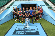 Danny Care of Harlequins, Owen Farrell of Saracens, Christian Wade of Wasps, Ben Youngs of Leicester Tigers, Jack Nowell of Exeter Chiefs, Ben Te'o of Worcester Warriors, Taulupe Faletau of Bath Rugby, Toby Flood of Newcastle Falcons, Tom Wood of Northampton Saints, Jonno Ross of Sale Sharks, Jaco Kriel of Gloucester Rugby and George Smith of Bristol Bears pose for a photo during the Gallagher Premiership Rugby 2018-19 Season Launch at Twickenham Stadium on August 23, 2018 in London, England.