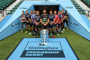 (L-R) Ben Youngs of Leicester Tigers, Jack Nowell of Exeter Chiefs, Ben Te'o of Worcester Warriors, Taulupe Faletau of Bath Rugby, Toby Flood of Newcastle Falcons, Tom Wood of Northampton Saints, Jonno Ross of Sale Sharks, Jaco Kriel of Gloucester Rugby, George Smith of Bristol Bears, Danny Care of Harlequins, Owen Farrell of Saracens and Christian Wade of Wasps pose for a photo during the Gallagher Premiership Rugby 2018-19 Season Launch at Twickenham Stadium on August 23, 2018 in London, England.