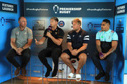 (L-R) Schalk Burge of Saracens, Josh Bassett of Wasps, Jordan Crane of Bristol Bears and Francis Saili of Harlequins are pictured during the announcement of the 2018-19 Gallagher Premiership Rugby fixtures at BT Tower on July 6, 2018 in London, England.