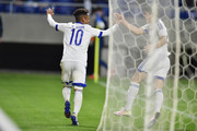 Santos of Suwon Samsung Bluewings FC celebrates after scoring a first goal of his team during the AFC Champions League Group G match between Gamba Osaka and Suwon Samsung Blue Wings at the Suita City Football Stadium on April 19, 2016 in Suita, Japan.