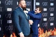 """Hafþor Julius Bjornsson and Pedro Pascal attend the """"Game Of Thrones"""" Season 8 Premiere on April 03, 2019 in New York City."""