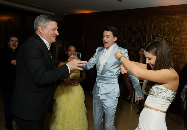 2020 Netflix SAG After Party [photograph,facial expression,event,ceremony,wedding,wedding reception,wedding dress,marriage,bridal clothing,friendship,gaten matarazzo,priah ferguson,noah schnapp,ted sarandos,millie bobby brown,california,los angeles,netflix,sag,party,millie bobby brown,finn wolfhard,stranger things,gaten matarazzo,sadie sink,caleb mclaughlin,joe keery,eleven,netflix]