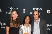 "(L-R) Melissa Ortiz, Gisela Robledo Gil and Landon Donovan arrive at the Gatorade premiere of the docu-series, ""Cantera 5v5"" during the Tribeca TV Festival on Saturday, September 14, 2019 in New York City."