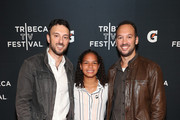 """Filmmakers Jeff and Michael Zimbalist and Gisela Robledo Gil (C) arrive at the Gatorade premiere of the docu-series, """"Cantera 5v5"""" during the Tribeca TV Festival on Saturday, September 14, 2019 in New York City."""