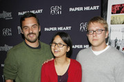 """(L-R) Actor Jake M. Johnson,  actress/writer Charlyne Yi and writer/director Nicholas Jasenovec attend the screening of """"Paper Heart"""" at AMC Loews 19th Street on August 5, 2009 in New York City."""