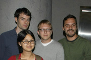 """(L-R) Actor Bill Hader, actress/writer Charlyne Yi, writer/director Nicholas Jasenovec and actor Jake M. Johnson attend the screening of """"Paper Heart"""" at AMC Loews 19th Street on August 5, 2009 in New York City."""