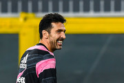Gianluigi Buffon of Juventus during teams warm-up before the Serie A match between Genoa CFC and Juventus Fc at Stadio Luigi Ferraris on December 13, 2020 in Genoa, Italy.
