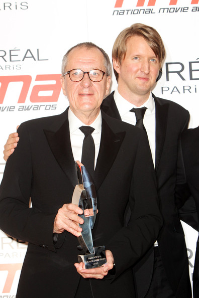 National Movie Awards - Press Room [suit,white-collar worker,award,premiere,event,tuxedo,formal wear,geoffrey rush,tom hooper,national movie awards,award,best drama,room,press room,uk,l,tabloid newspapers]