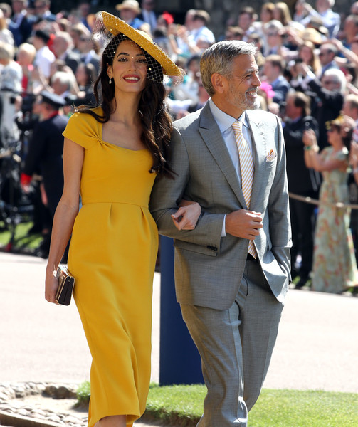 Prince Harry Marries Ms. Meghan Markle - Windsor Castle [harry,meghan markle,george clooney,amal clooney,yellow,suit,fashion,event,dress,hat,headgear,formal wear,footwear,fedora,windsor castle,britain,us,england,st georges chapel,wedding ceremony]