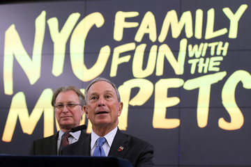 George Fertitta Mayor Bloomberg Appears With The Muppets In Times Square