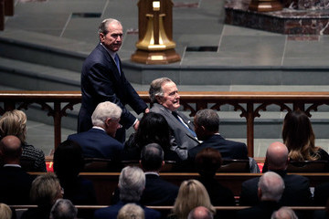 George W Bush Bill Clinton Mourners, Including Former Presidents, Attend Funeral For Barbara Bush