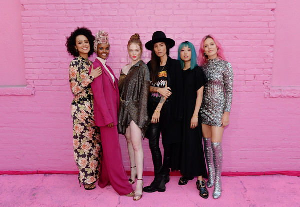 Pandora Street Of Loves [pink,fashion,event,fashion design,fun,formal wear,magenta,costume,nathalie emmanuel,tasya van ree,margaret zhang,larsen thompson,halima aden,georgia may jagger,l-r,california,los angeles,pandora street of loves]