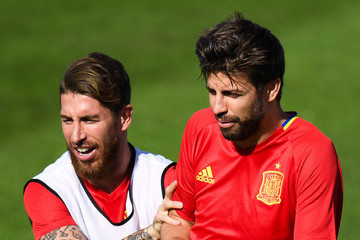 Gerard Pique Spain Training Session and Press Conference