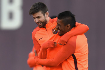 Gerard Pique Barcelona Training And Press Conference