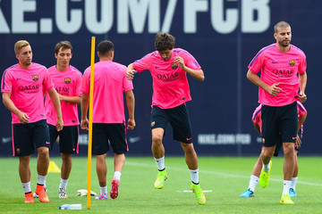 Gerard Pique FC Barcelona Training Session