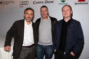 Actor Christoph Waltz, producers Christoph Fisser and Henning Molfenter attend the German Films & Villa Aurora Academy Awards Nominees reception at Villa Aurora on March 6, 2010 in Pacific Palisades, California.